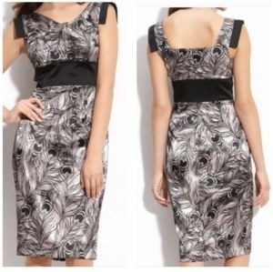 MAGGY LONDON Feather Print Cocktail Dress Size:8